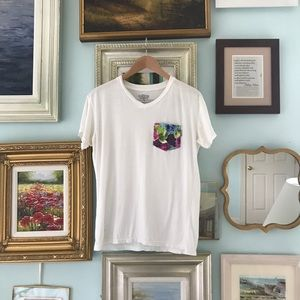 Serengetee white t-shirt with floral square